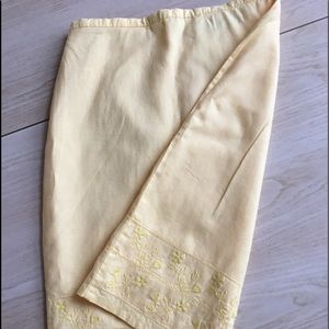 Old Navy butter yellow skirt with embroidery hem